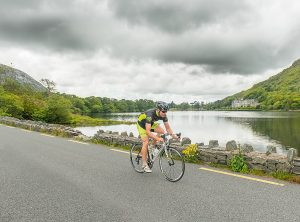 Cyclist at Kylemoore abbey