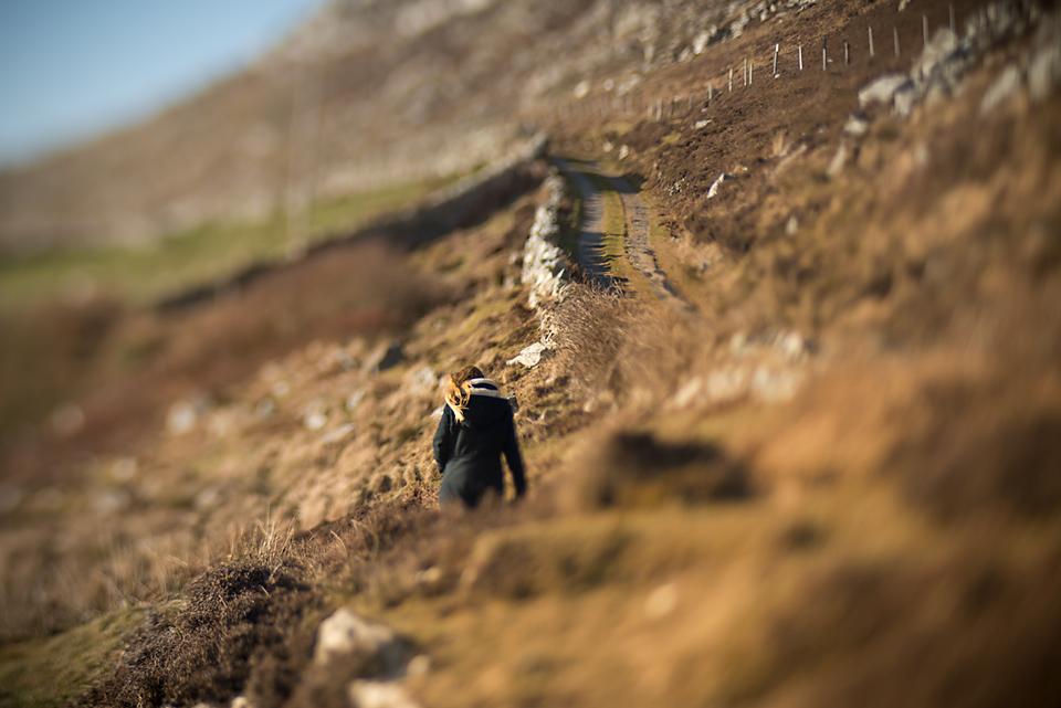 Person walking on hillside