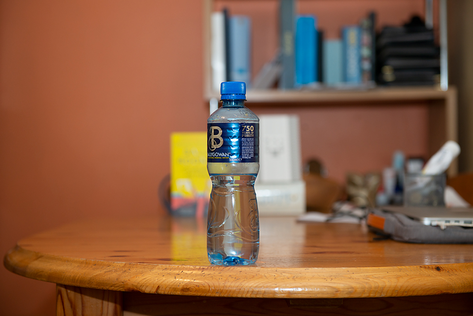 water bottle at F4 and 70 mm