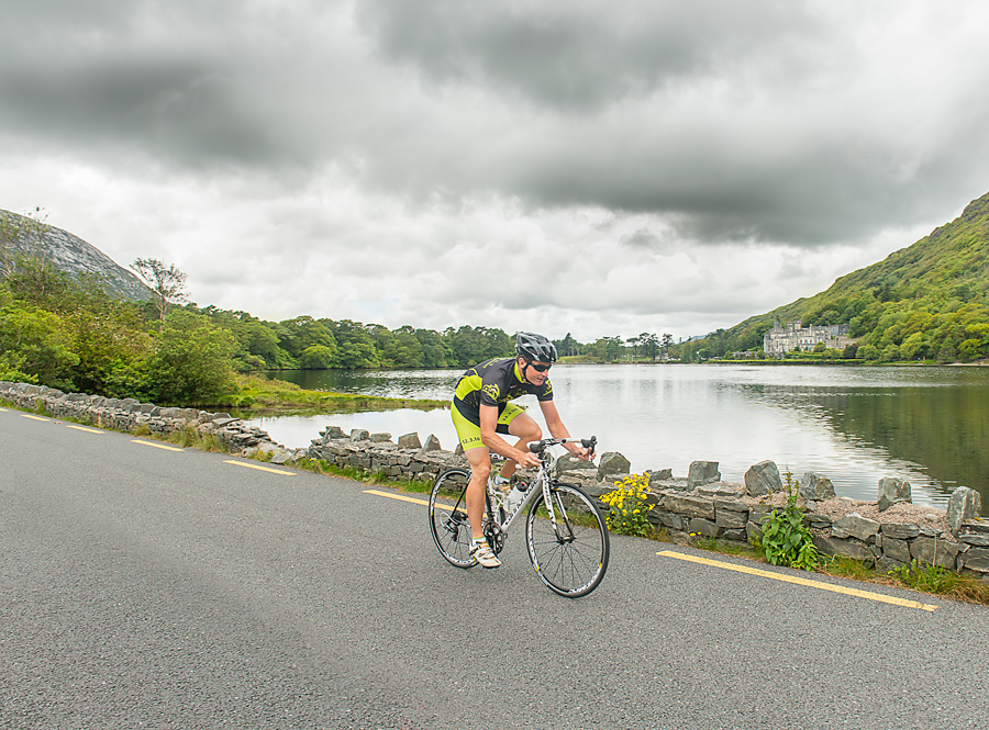 Cyclist at Kylemoore abbey