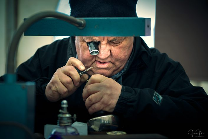 Man making jewellery