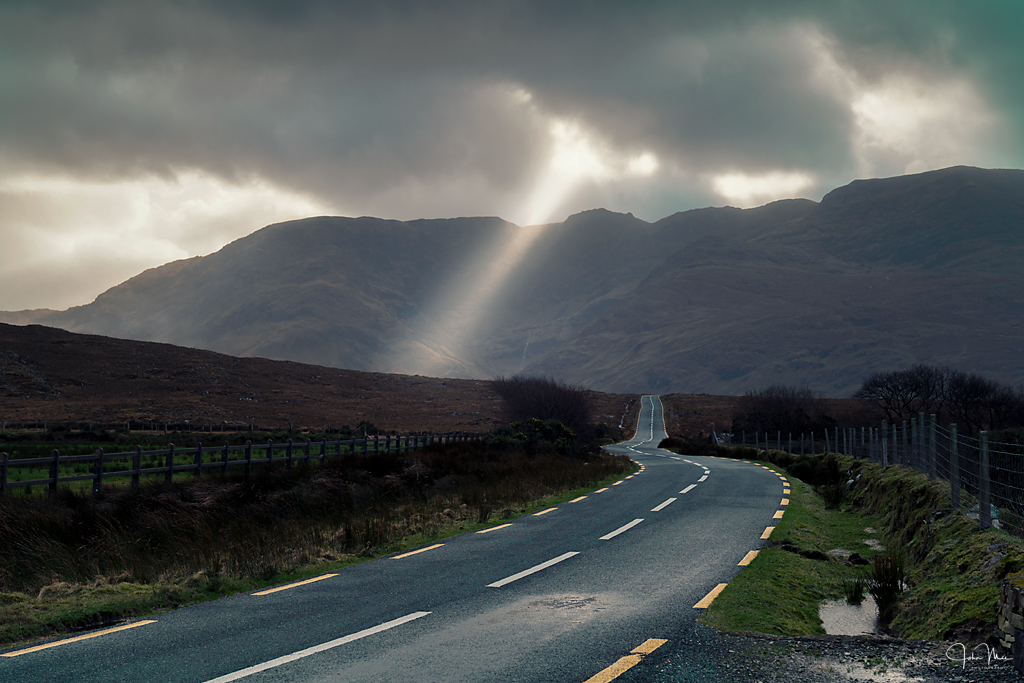 A shaft of light breaks through the clouds