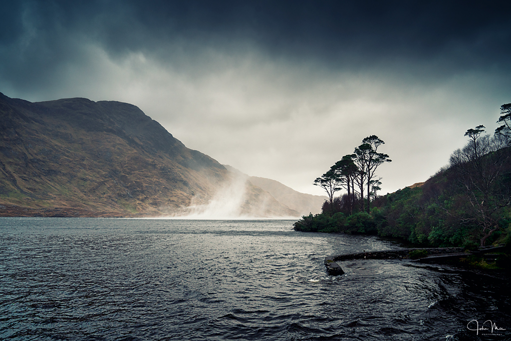 Water rising from Doolough during storm Brendan