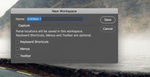 New workspace photoshop dialogue