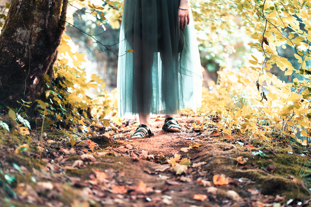 Person walking on a woodland path